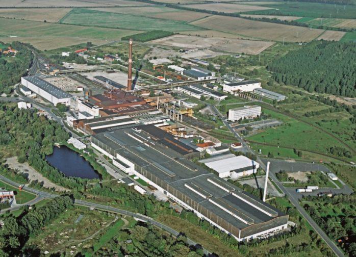 Luftaufnahme des Werksgeländes der Ilsenburger Grobblech GmbH
