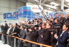 Blick auf die Pressetribüne