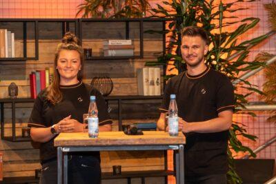 Natascha und Björn bei der Pressekonferenz